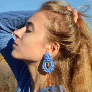 CLOSET REHAB Jewelry - Boho Beaded Drop Earrings in Blue